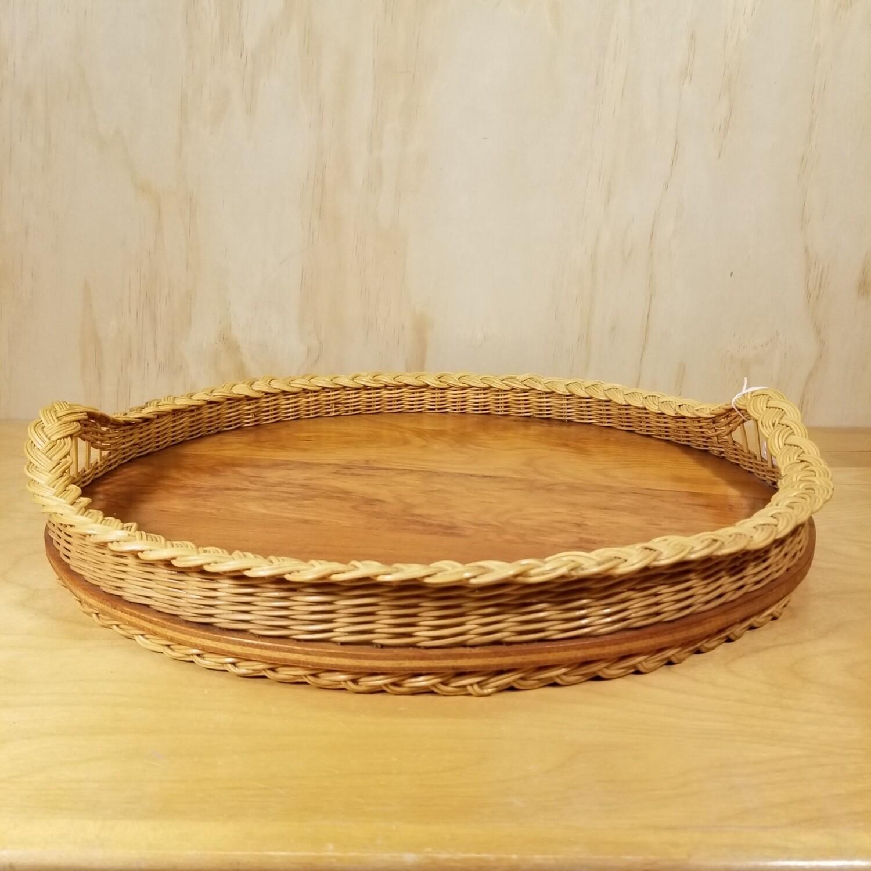 Wicker + Wood Tray
