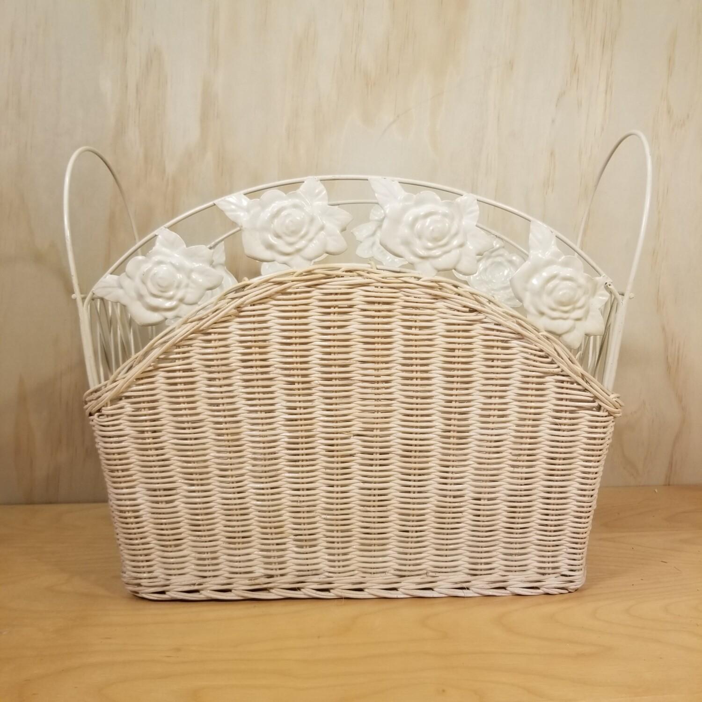 White Iron Wicker Basket