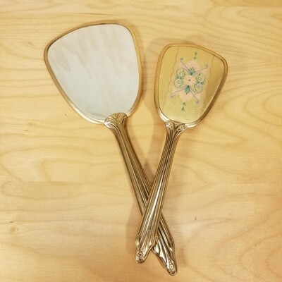 Brass Hand Mirror + Brush