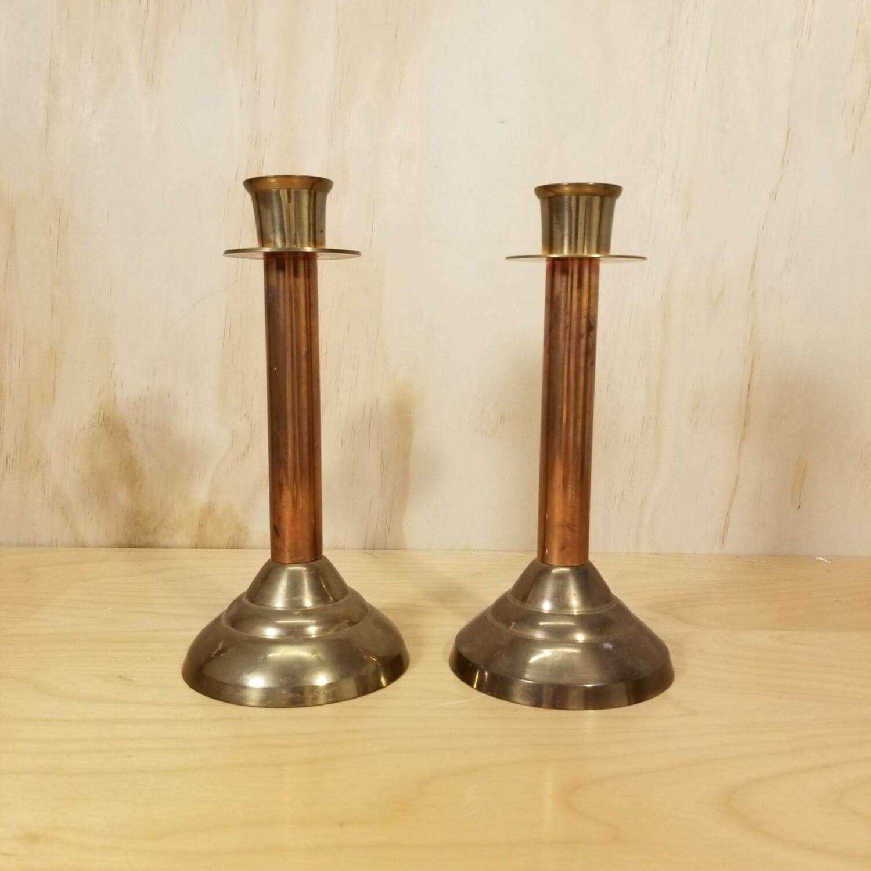 Brass & Copper Candle Holder Set