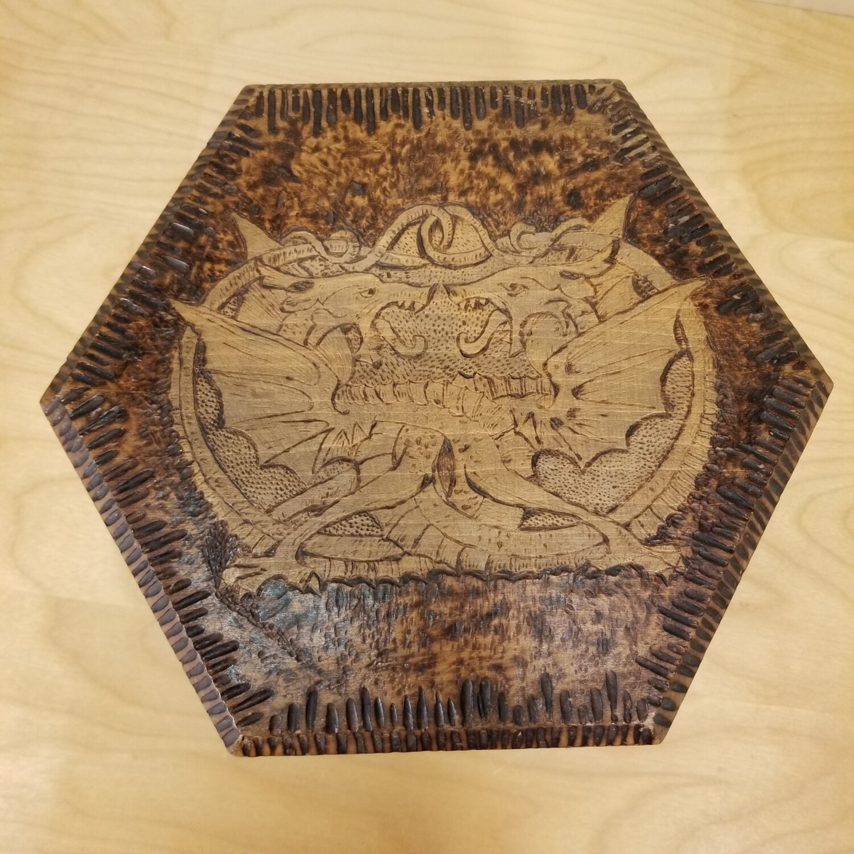 Pyrographic Art Stool - Dragons