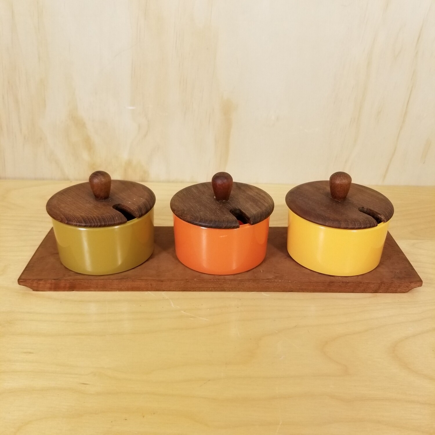 Teak Serving Tray with Containers