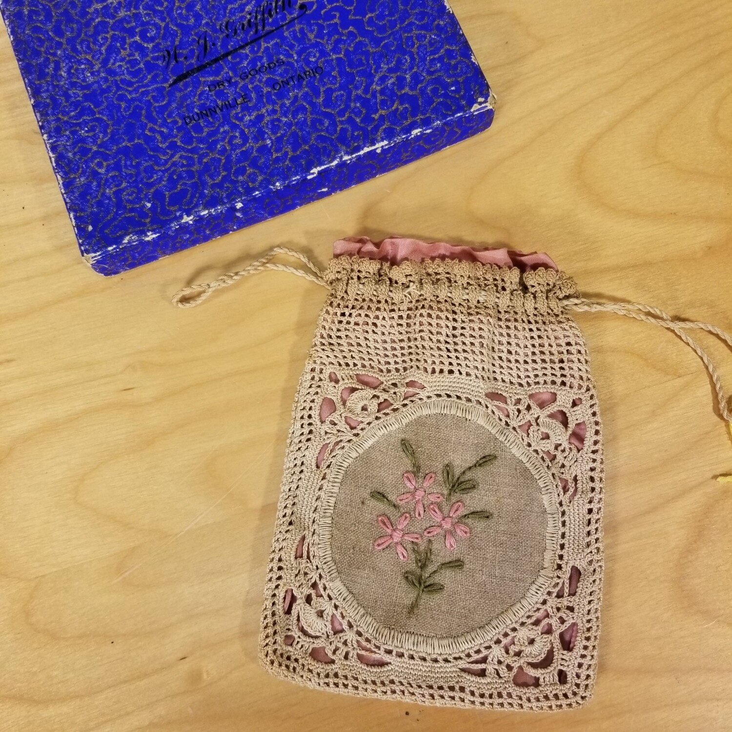 """Crotcheted """"purse"""" from W.J. Griffith Dry Goods"""