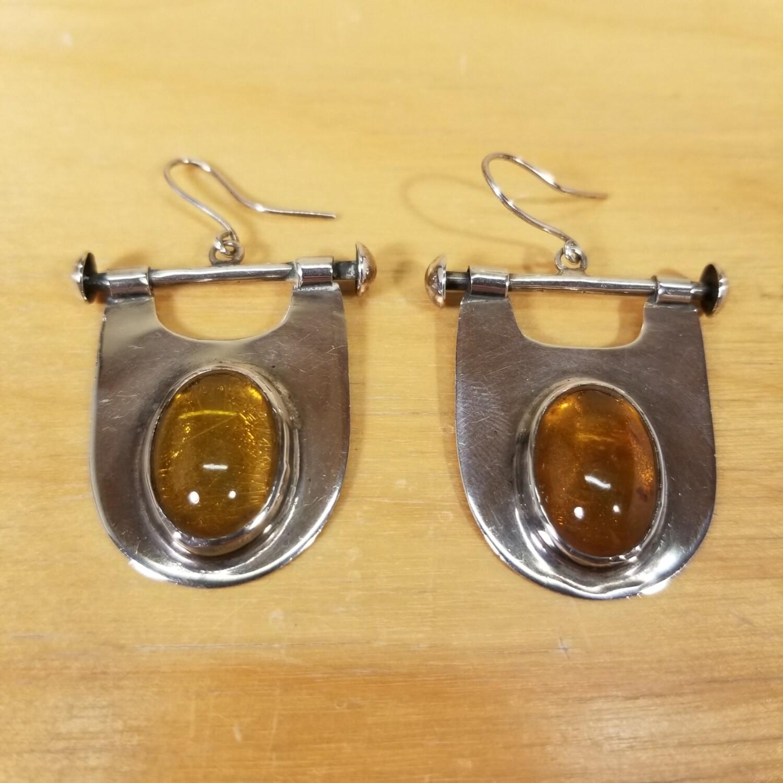 Amber + Sterling Earings