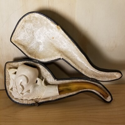 Carved Meerschaum Pipe with Case