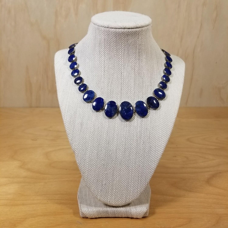 """Southwest """"Chile 950"""" Silver Lapis Necklace"""