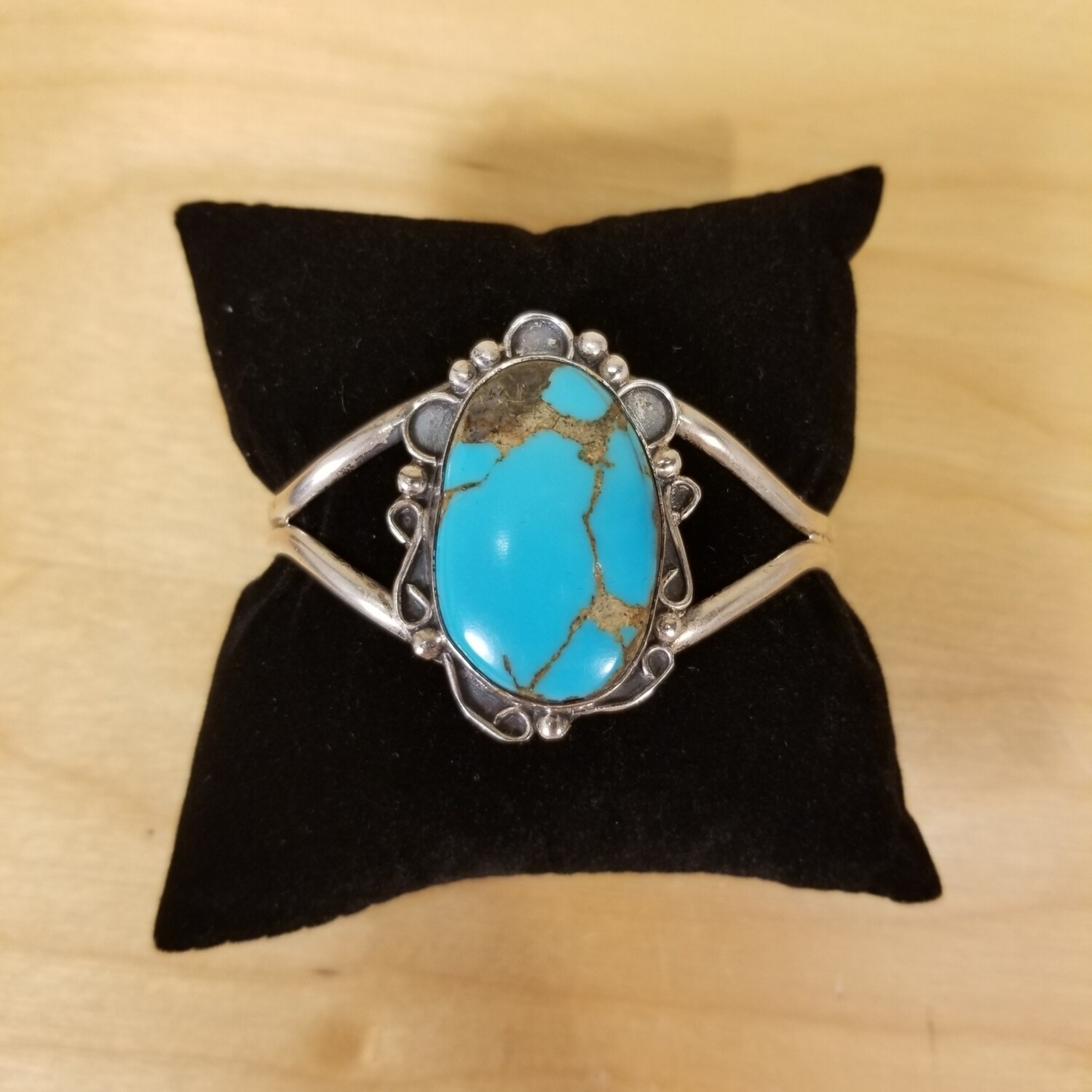 Native American Kingman Turquoise with Pyrite Cuff Bracelet