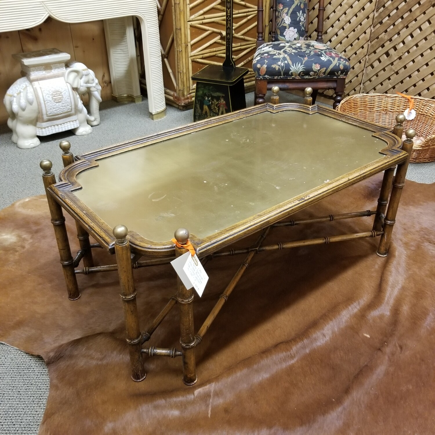 1970's Faux Bamboo + Brass Coffee Table