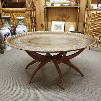 Moroccan Style Brass Engraved Coffee Table (As Is)