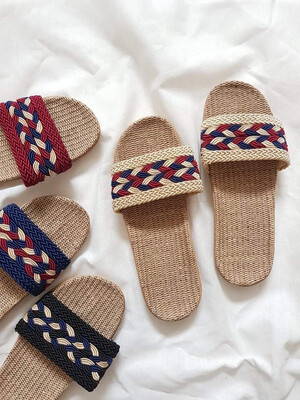 Natural Linen Slippers in Cream