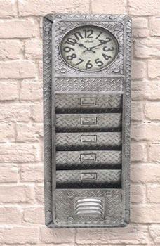 Industrial Iron Plated Clock & letter Rack