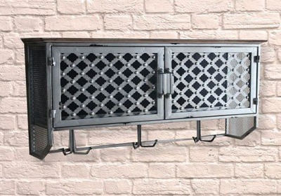 Industrial Large Ornate Pattern Wall Cabinet And Hooks
