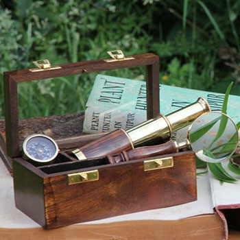 Fair Trade Nautical Box, Mini Telescope, Compass & Magnifying Glass