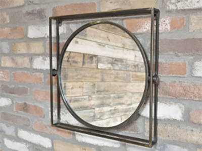 Square Framed Circle Mirror