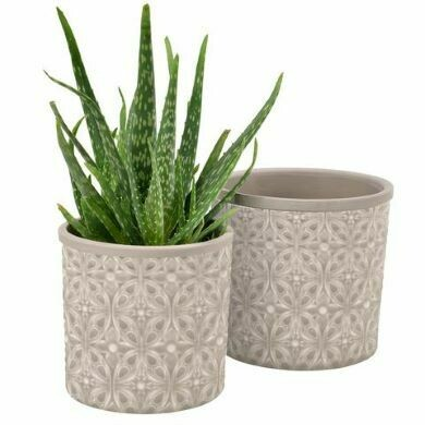 Burgon & Ball Set of Two Porto Glazed Pot Grey
