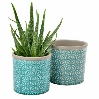 Burgon & Ball Set of Two Porto Glazed Pots Tuscany Blue