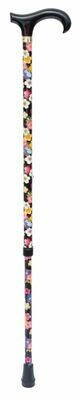 Fabric-Wrapped Derby Black/Multi Floral Walking Stick
