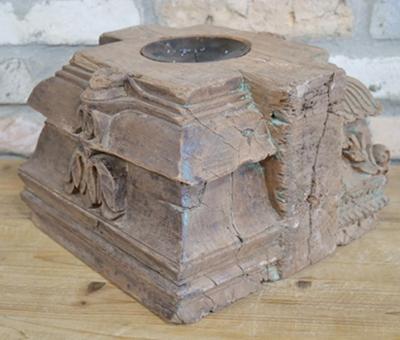 Original Indian Pillar Base Carved Candle Holder