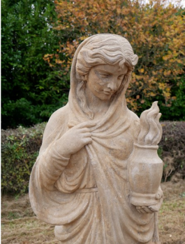 Lady With Urn Carved Stone Statue