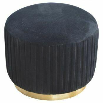 Black Velvet Pleated Footstool with Gold Base