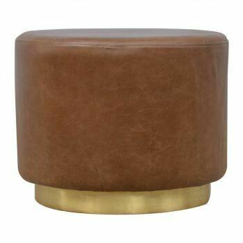 Buffalo Leather Footstool with Gold Base