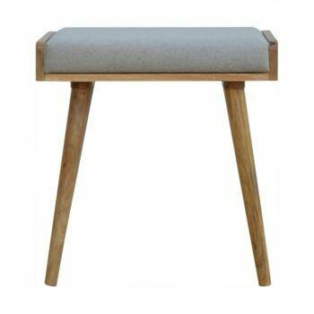 Grey Tweed Solid Wood Footstool