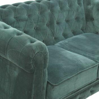 Emerald Green Velvet Two Seater Chesterfield Sofa