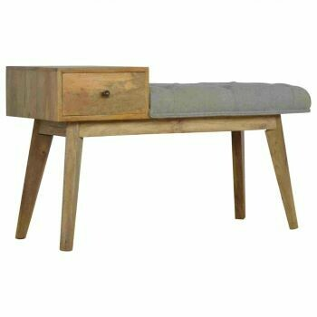 Grey Tweed Bench with Drawer
