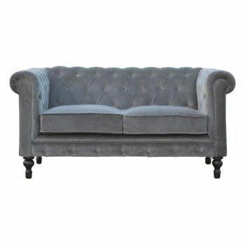 Grey Velvet Two Seater Chesterfield Sofa