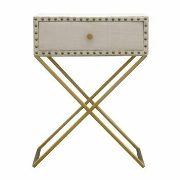 Studded Linen with Drawer Bedside Table