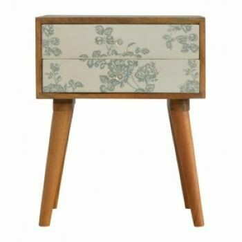 Floral Green Screen Printed Bedside