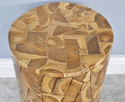 Teak Wood Jigsaw Cylindrical Side Table / Stool