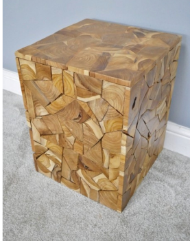 Teak Wood Jigsaw Side Table  / Stool