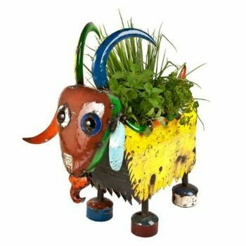 Recycled Billy the Goat Planter Sculpture