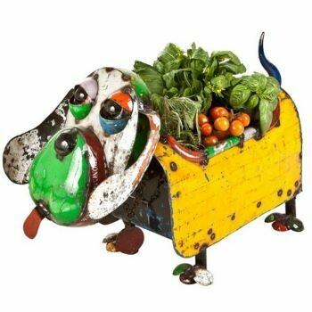 Hound Dog Recycled Planter Sculpture