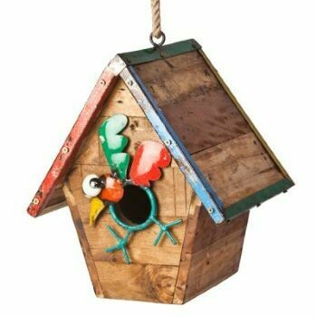 Recycled Walk the Line Bird House Sculpture