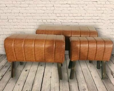 Set Of 3 Rolled Natural Faux Gym Leather Pommel Horses