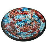 Fair Trade Mosaic Bowl - Red & Blue Graffiti