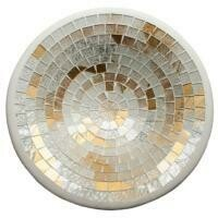 Fair Trade Mosaic Bowl - White & Gold