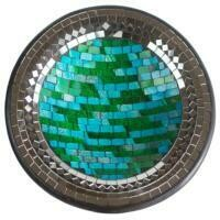 Fair Trade Mosaic Bowl - Turquoise with Mirror