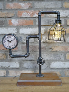 Industrial Pipe Clock and Light