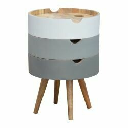 Grey Gradient Bedside Cabinet with Removable Drawers