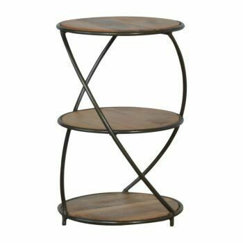 Industrial Three Tier Solid Wood End Table