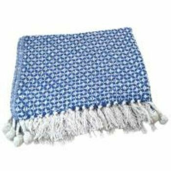 Fair Trade Recycled Blue Circles Bedspread / Throw