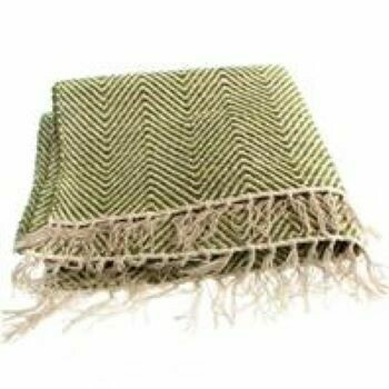 Fair Trade Green Herringbone Cotton Rug