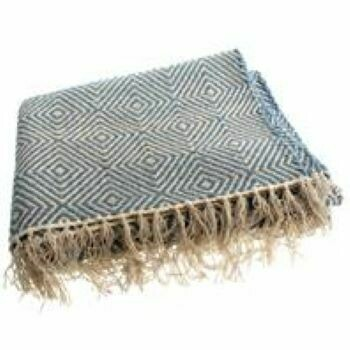 Fair Trade Blue Diamond Cotton Rug