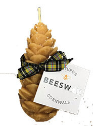 Natural Beeswax Pine Cone Candle