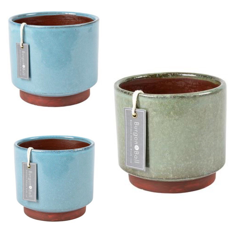 Burgon and Ball Set of Three Glazed Pots - Malibu