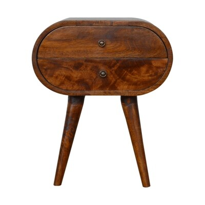 The Columbia Chestnut Circular Bedside Cabinet