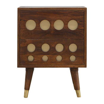 The Columbia Chestnut Brass Inlay Cut Out Bedside Cabinet